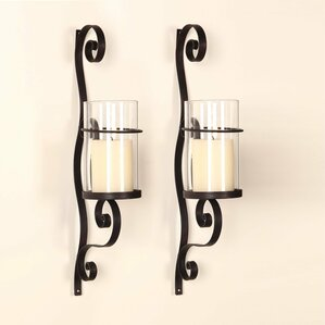 iron wall sconce candle holder set of 2