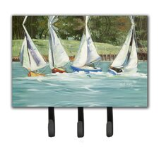 Sailboats on The Bay Leash Holder and Key Hook by Caroline's Treasures