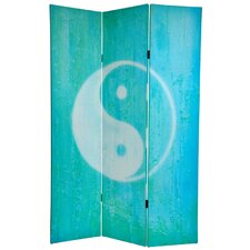 70.88 x 47.25 Yin Yang / Om 3 Panel Room Divider by Oriental Furniture