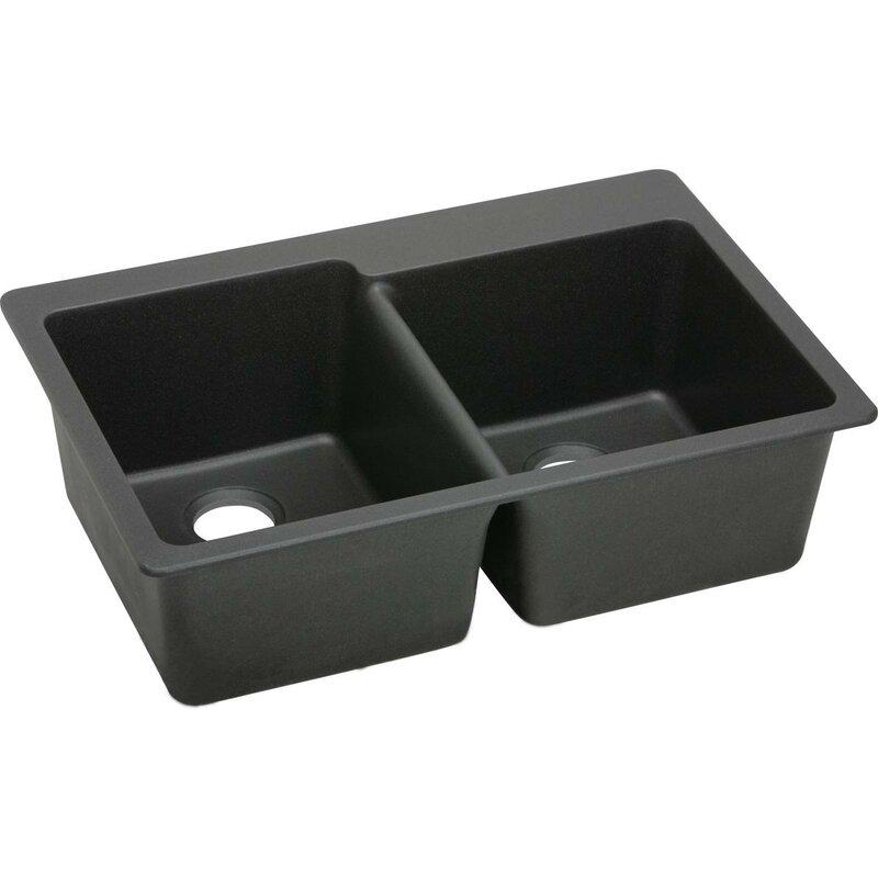 "White Top Mount Kitchen Sink quartz classic 33"" x 22"" double bowl top mount kitchen sink"