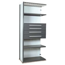 V-Grip 84 Shelving with Drawers Unit - 4Drw/5Shelf Closed AddOn, 4 drawers - 3,4.5, 6, 7.5 H; 200 lb capacity by Equipto