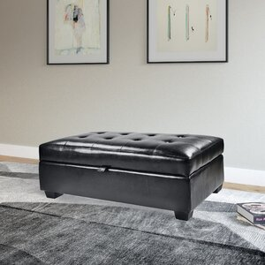 Olive Leather Ottoman by Wade Logan