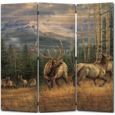 68 x 68 Back Country Elk 3 Panel Room Divider by WGI-GALLERY