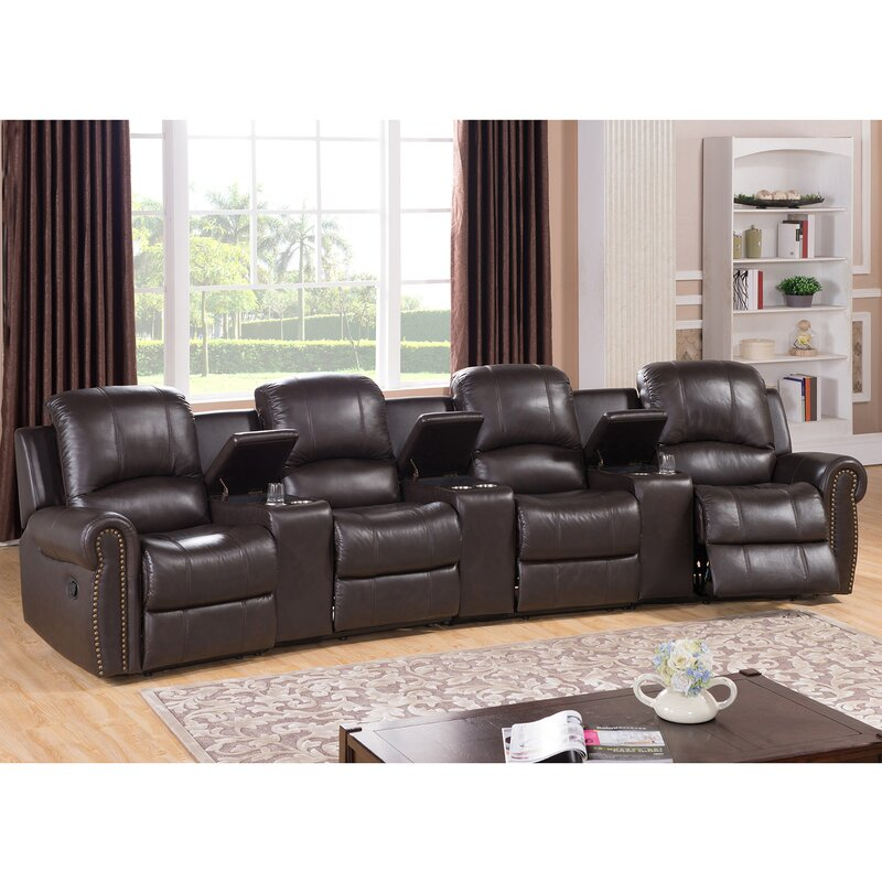 default name. Amax Bloomington Leather 4 Seat Home Theater Recliner   Wayfair