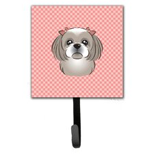 Checkerboard Gray Silver Shih Tzu Leash Holder and Wall Hook by Caroline's Treasures