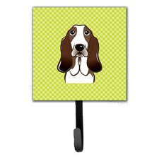 Checkerboard Basset Hound Leash Holder and Wall Hook by Caroline's Treasures