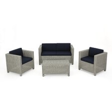 Cronius Outdoor Wicker 4 Piece Deep Seating Group with Cushion (Set of 4)