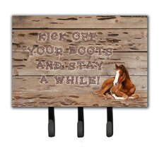 Kick Off Your Boots and Stay a While Leash Holder and Key Hook by Caroline's Treasures