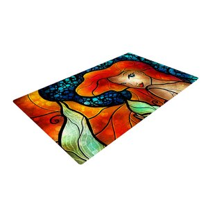 Mandie Manzano Ariel Mermaid Blue/Orange Area Rug