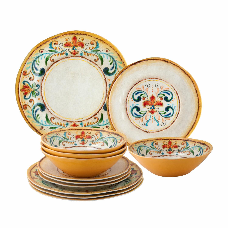 Dinnerware Set Melamine Plates 12 Pcs