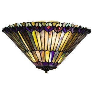 Tiffany Jeweled Peacock 3-Light Bowl Ceiling Fan Light Kit