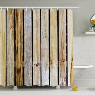 Price Check Rustic Home Vintage Timber Fence of Country Rough Rural House Mother Earth Shower Curtain Set By Ambesonne