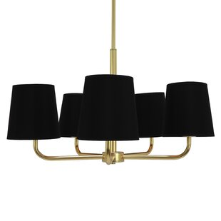 Read Reviews Dorffman Plated Metal 5-Light Shaded Chandelier By Mercer41