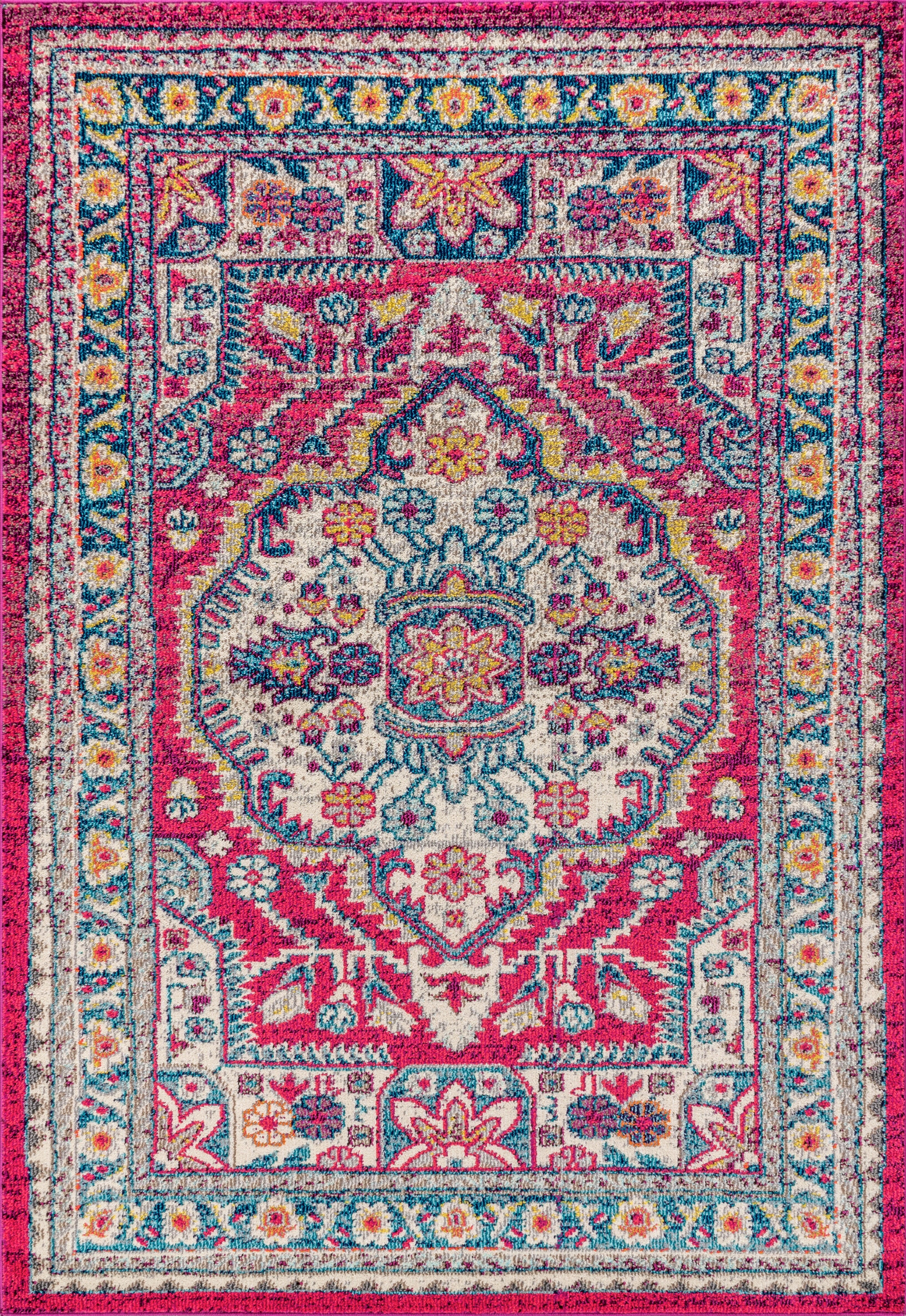 Latitude Vive Saquia Power Loom Pink Cream Blue Rug Reviews Wayfair Co Uk