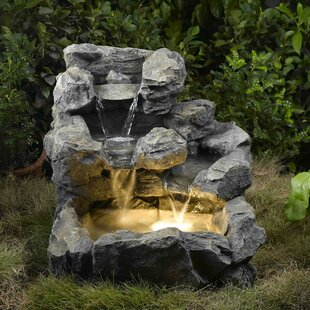 Waterfalls Indoor Fountains Indoor fountains youll love wayfair resinfiberglass rock creek cascading fountain with light workwithnaturefo