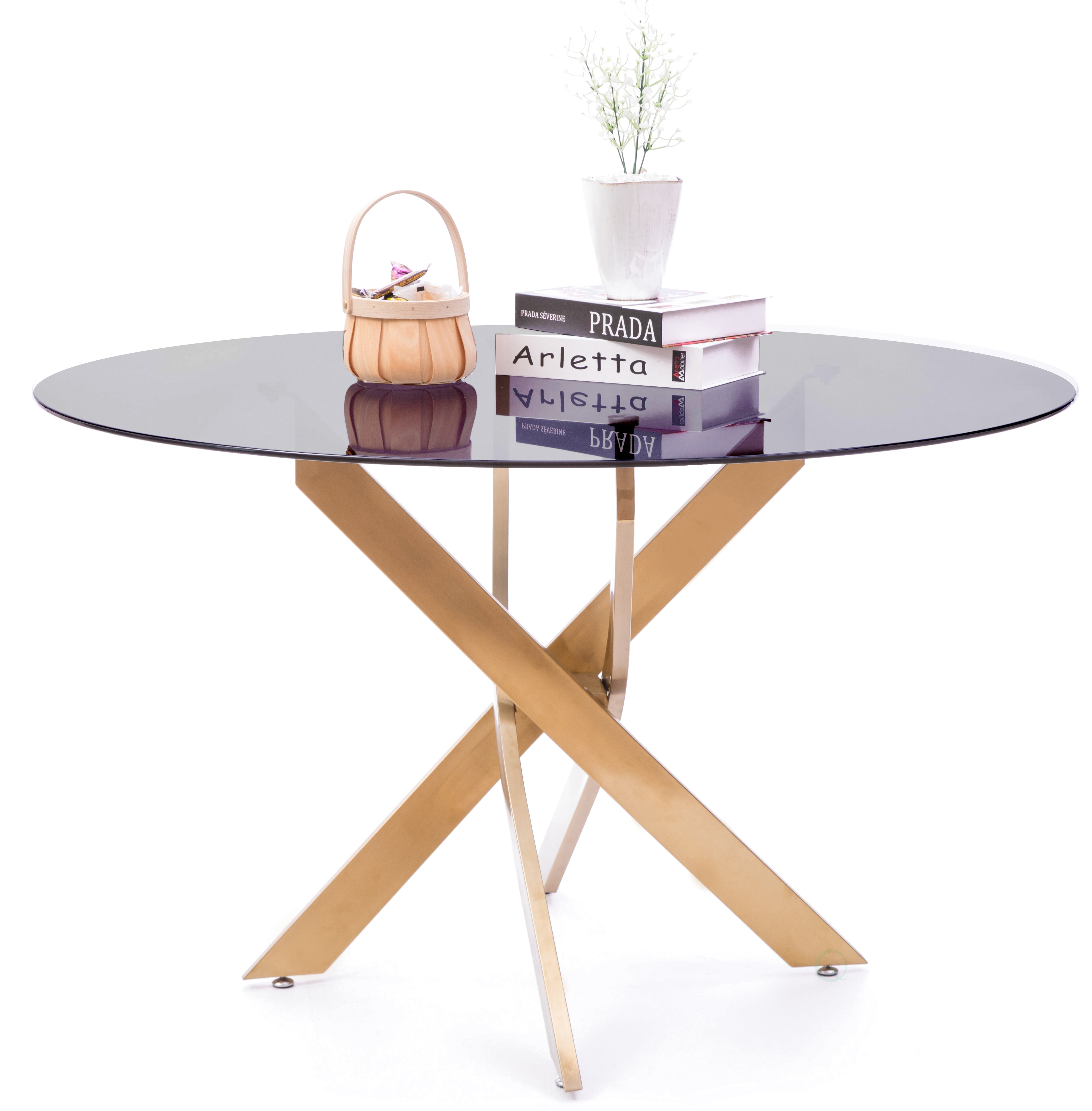Everly Quinn Round Smoked Glass Gold Stainless Steel Metal Modern Dining Table Wayfair