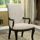 Moreno Cotton Upholstered Ladder Back Arm Chair in Brow (Set of 2) by Winston Porter