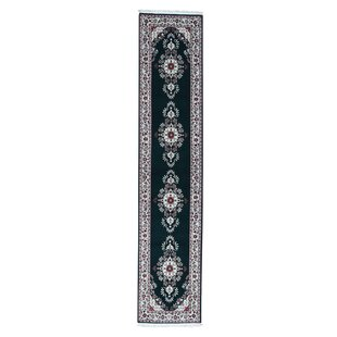 Compare prices Littrell Sino Sarouk 200 Kpsi Hand-Knotted Forest Green/Black/Pink Area Rug By Bloomsbury Market
