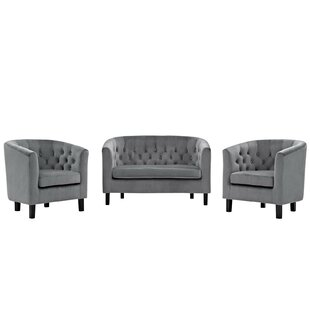 Oxford 3 Piece Living Room Set by House of Hampton