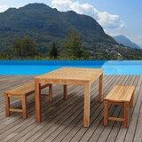 Truesdale International Home Outdoor 3 Piece Teak Dining Set