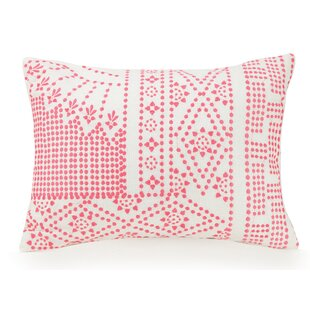 Coral Floral Dotty Cotton Lumbar Pillow