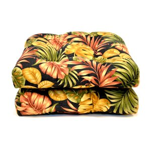Tropical Wicker Indoor/Outdoor Dining Chair Cushion (Set of 2)