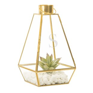 Beachcrest Home Glass and Metal Lantern
