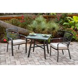 "Leeson 3-Piece Commercial-Grade Bistro Set with 2 Cushioned Dining Chairs and a 30"" Square Glass-Top Table"
