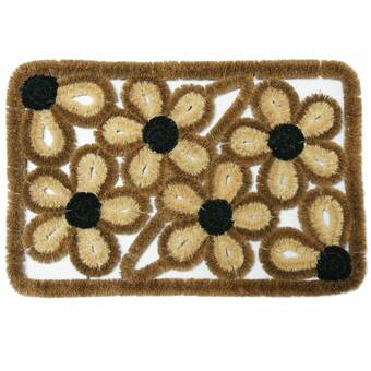 Rubber-Cal Valencia Outdoor Boot Scraper 18 x 30 Decorative Coco Coir Doormat 10-100-518