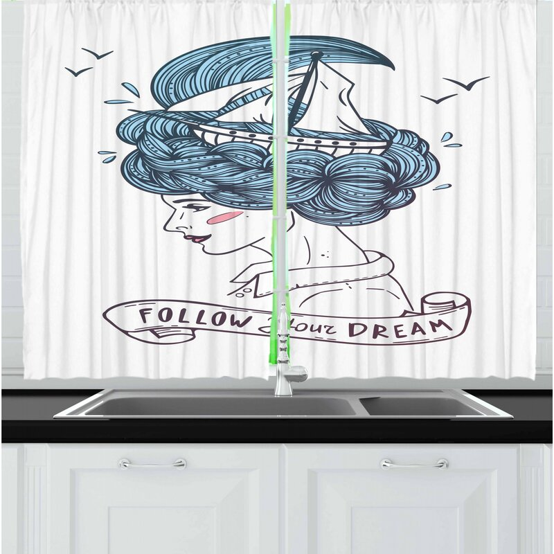East Urban Home Inspirational 2 Piece Kitchen Curtain Set Wayfair