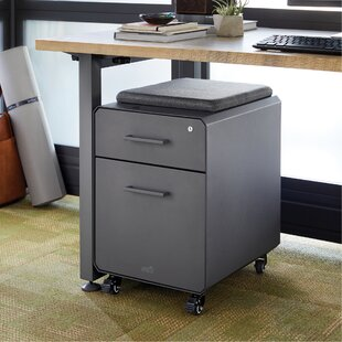 Storage Seat Rolling Cushion Top 2-Drawer Mobile Vertical Filing Cabinet