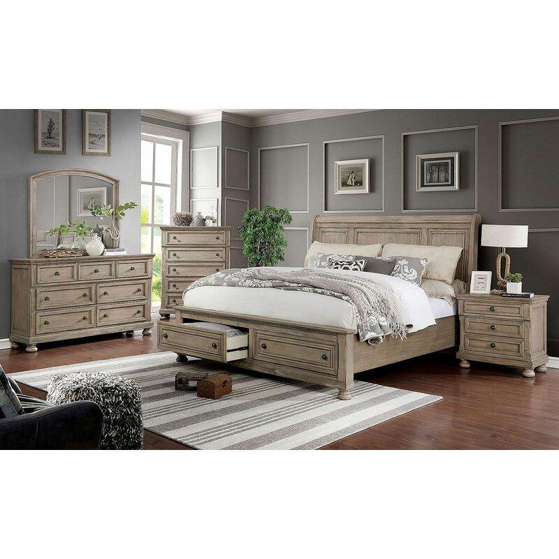 canora grey leiston sleigh solid wood configurable bedroom