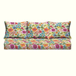 Paxton Floral Piped Indoor/Outdoor Sofa Cushion