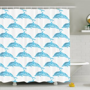 Sea Animals Dolphin Figures with Leaf Ornamentals Abstract Art Playful Fish Shower Curtain Set
