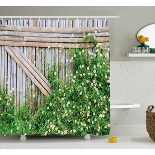 Farm House Bamboo Fence Covered by Ivy Daisy Flower Blooms Chamomile Petals Picture Shower Curtain Set Ambesonne
