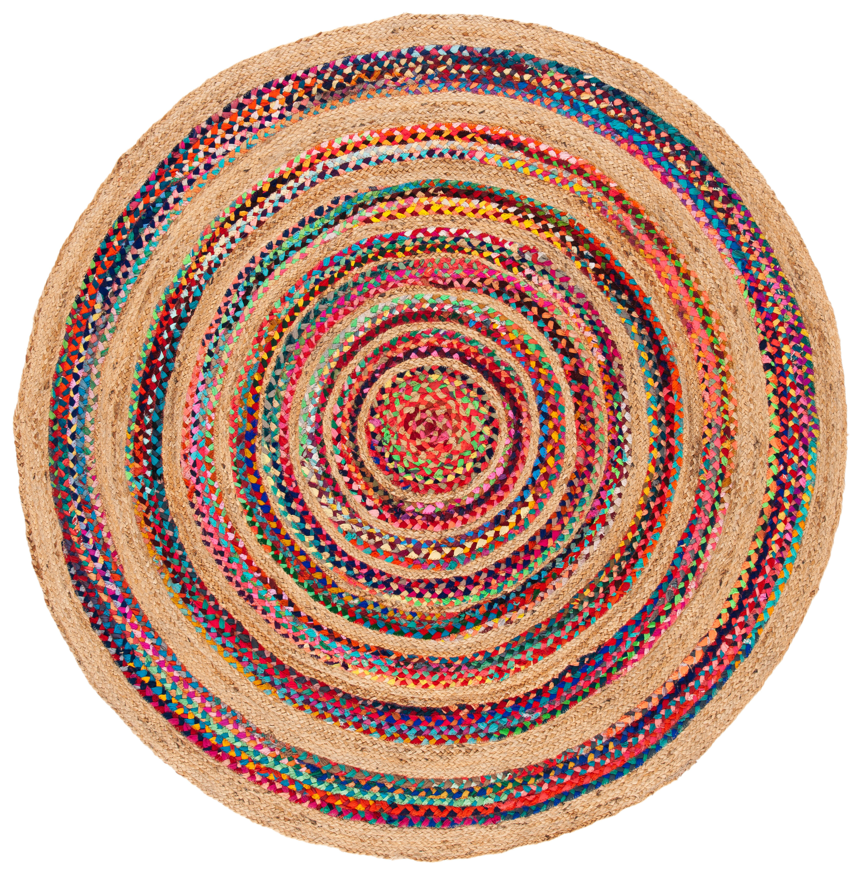 Picture of: Andover Mills Baby Kids Round Geometric Pink Natural Area Rug Wayfair