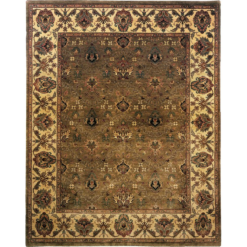 Exquisite Rugs Moghul Hand Knotted Wool Light Green Gold Area Rug Wayfair