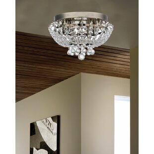 Crystal ceiling light wayfair aguilera brass round bijou crystal ceiling 2 light flush mount aloadofball Choice Image