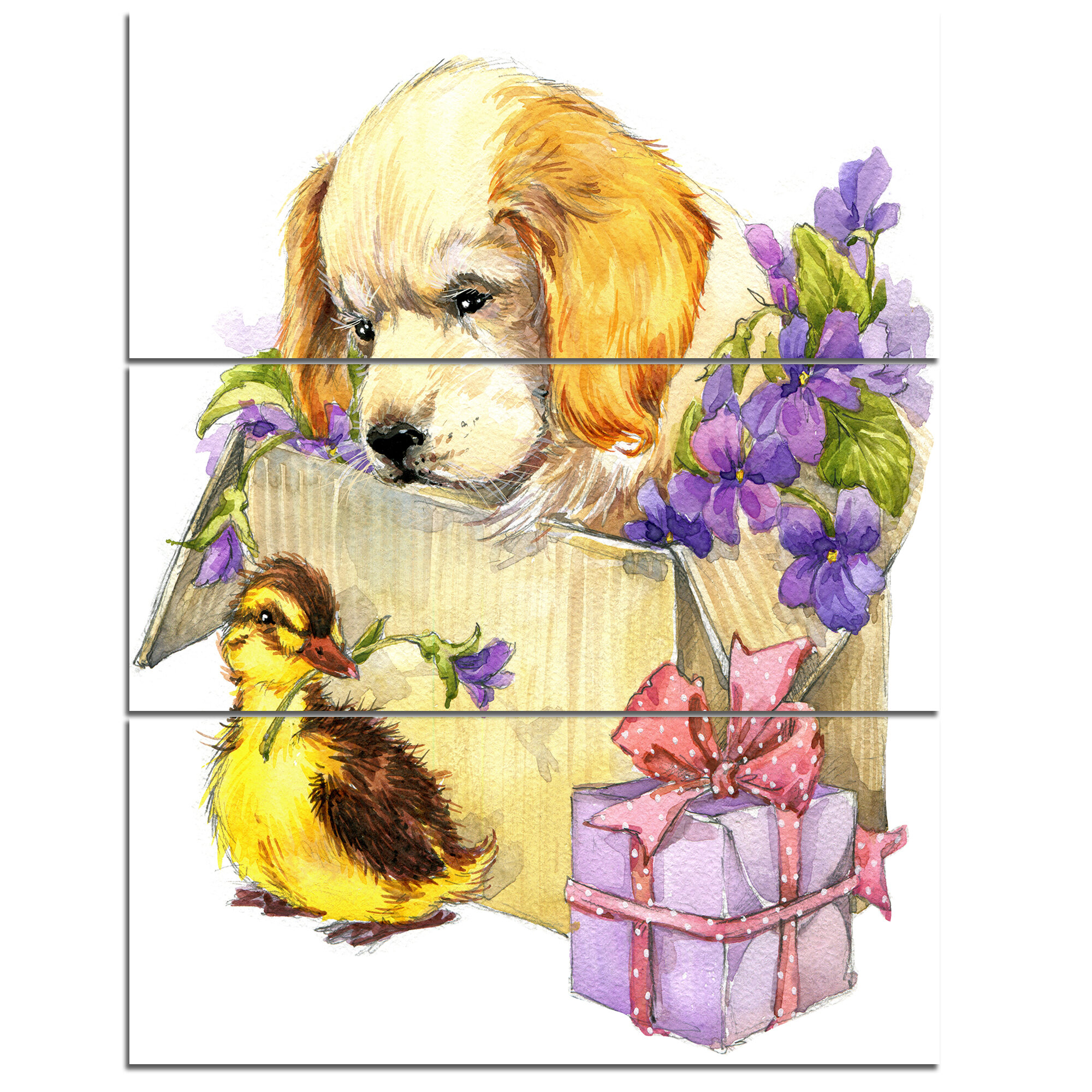 CUTE PUPPY DOG CANVAS PICTURE PRINT WALL ART D358