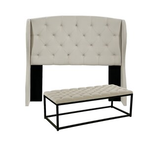 Darby Home Co Sornson Upholstered Wingback Headboard and Tufted Bench