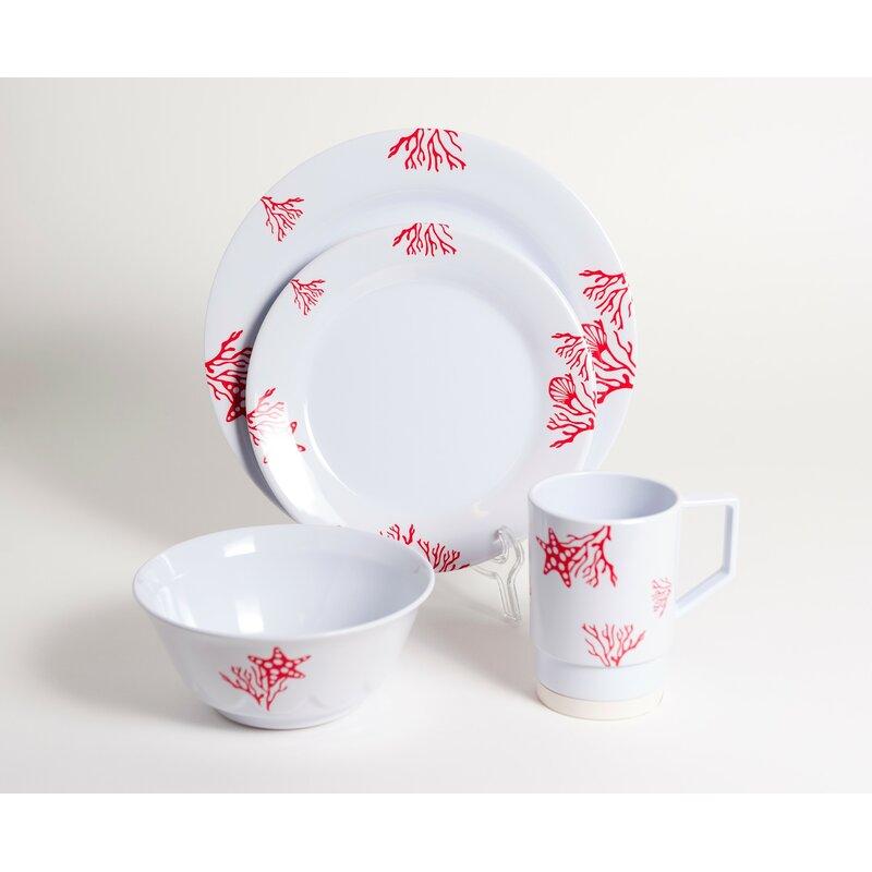 Galleyware Company Decorated Coral Melamine 24 Piece Dinnerware Set ...