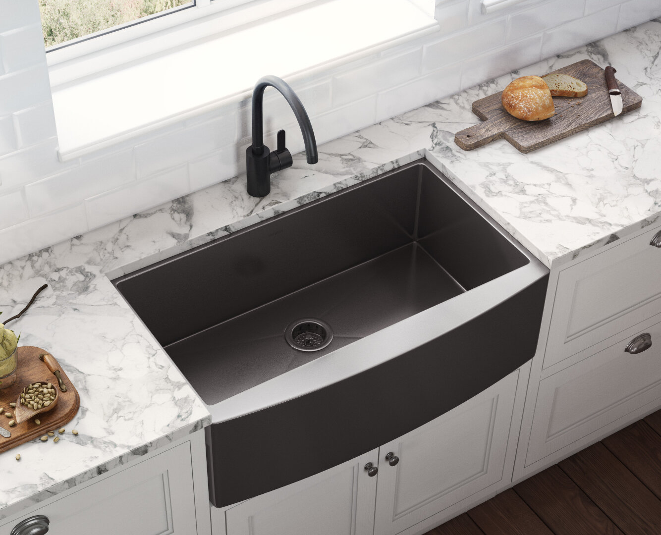 Ruvati Terraza 33 L X 22 W Farmhouse Kitchen Sink Reviews Wayfair