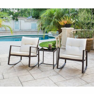 Kinzie Outdoor 3 Piece Bistro Set With Cushions by Rosalind Wheeler #1