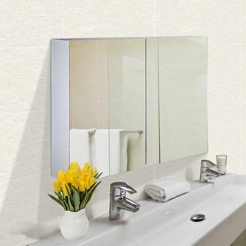 Ebern Designs Selfridge Surface Mount Frameless 2 Doors Medicine Cabinet With 4 Adjustable Shelves Reviews Wayfair