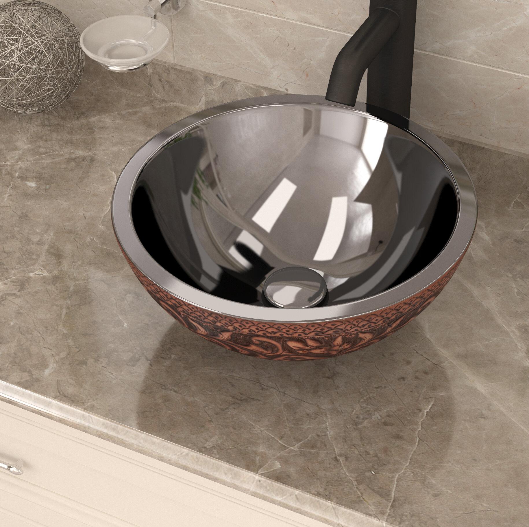 Anzzi Crete Polished Antique Copper Copper Handmade Circular Vessel Bathroom Sink Wayfair