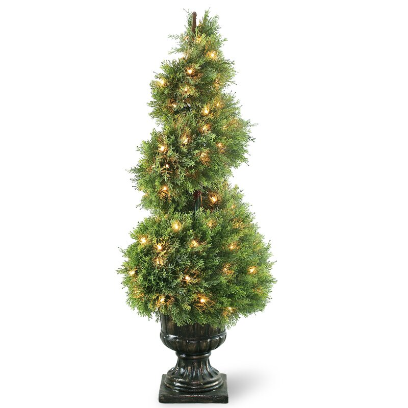 National Tree Co Prelit Juniper Spiral Topiary In Urn Reviews
