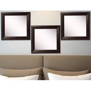 Winston Porter Hille Leather Wall Mirror (Set of 3)
