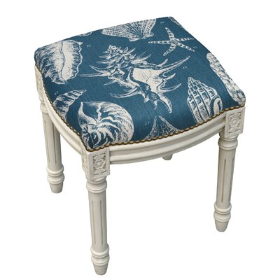 123 Creations Coastal Seashells Linen Upholstered Vanity Stool