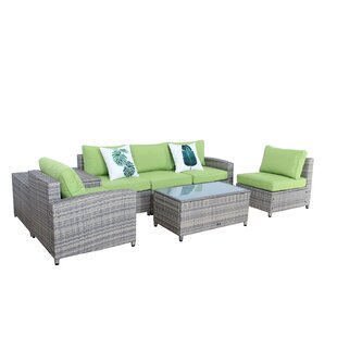 Ingrid 7 Piece Rattan Sofa Set with Cushions By Bayou Breeze