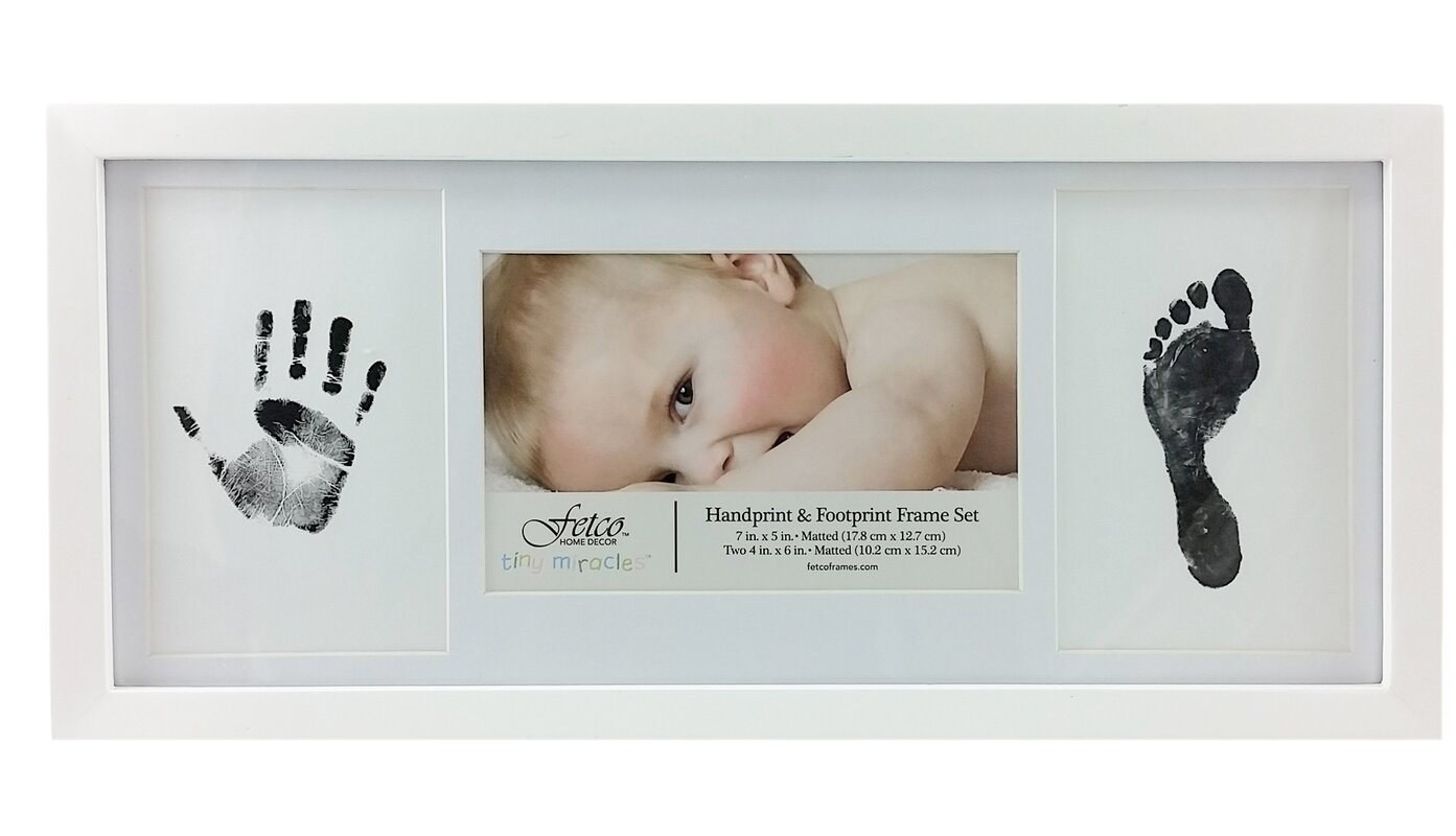 Fetco Home Decor Amari Newborn Hand and Foot Print Picture Frame Set ...
